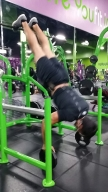 My training partner Hector. Yes, he does some interesting exercises! Notice that he's balancing on ten pound plates!